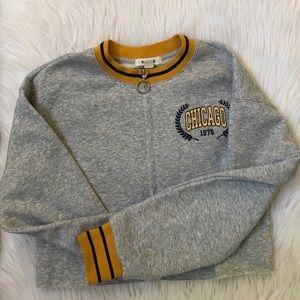 Gray Yellow Striped Varsity Ring Zip Up Sweater